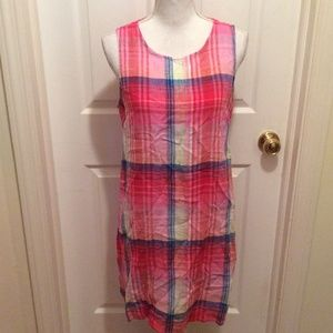 C & C California Dress 2 Pink Red Blue Plaid Shift